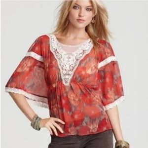 Free People Daydreamer Floral Boho Blouse Size XS